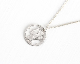 Vintage 900 Silver 1942 Mercury Dime Coin Pendant Necklace - Winged Lady Liberty Head Dime Currency Charm on Sterling Silver Chain Jewelry