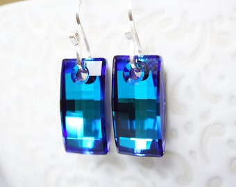 Earrings, Blue Earrings, Crystal Earrings, Silver Earrings, Geometric Earrings, Dangle Earrings, Drop Earrings, Mother's Day Gift, Gift