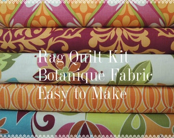 Botanique Fabric Rag Quilt Kit, Designer Fabrics,  Easy to Make, Personalized