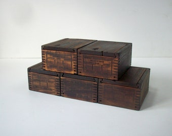 Vintage Industrial Small Wood Boxes with Sliding Top Lids / Rustic Distressed / Set of 5 / Instant Collection / Storage Organization / Gift