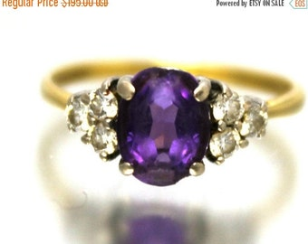 CIJ SALE Vintage Ladies Amethyst Diamond Engagement Ring 0.95ct Yellow Gold 9ct 9k | FREE Shipping | Size M.5 / 6.5