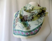 Bandana Scarf in Yellow with Rose Brown & Green