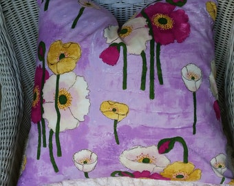 CLEARANCE Collection 16x16  Painted Poppies Fabric on both sides Ready to ship.