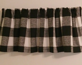 Back in Stock Window Valance  52 x  16 Buffalo Black Plaid Window Curtain