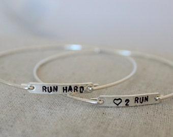 love to run sterling silver bangle | run hard bracelet | runners gift | marathon gift | gift for runner | stacking bracelets | stamped word