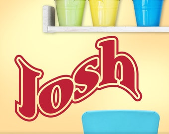 Personalized Name Decal, Custom Vinyl Wall Letters, (shown: Josh)