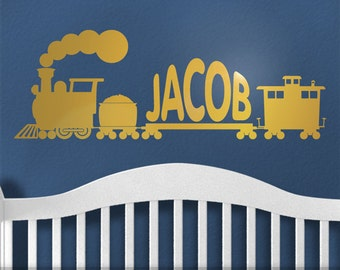 Baby Nursery Decor - Personalized Vinyl Decal Name Train - Wall Decal in Metallic - Gold Vinyl Wall Sticker - Kids Room Train