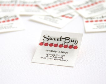 "105 - 1.5"" x 1.5"" -. In-seam fold style sewing label."