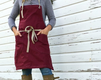 5 Quantity Aprons--New autumn 2016 Canvas Utility Apron made to order allow 7-10 business days