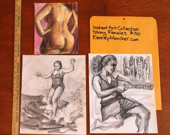 Instant Art Collection: Strong Women,  (2 drawings and 2 watercolor) by Kenney Mencher