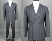 mens vintage suit • 1940s gray PINSTRIPE wool suit