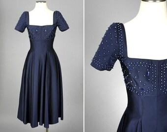 vintage 1950s silk dress • princess fit beaded taffeta dress by RUTH STARLING