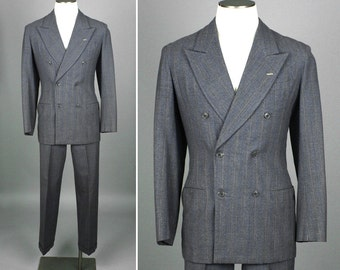 mens vintage suit • 1940s gray PINSTRIPE wool suit