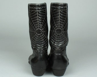 vintage 1950s 60s cowboy boots • SPIDER WEB rockabilly black leather boots