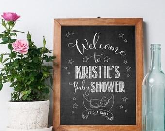 Baby Shower Chalkboard Sign - Printable Poster - Personalized, Custom, Digital File