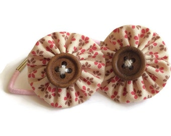 Pink Floral Fabric Yoyo Hair Ties/Elastics with Wooden Buttons
