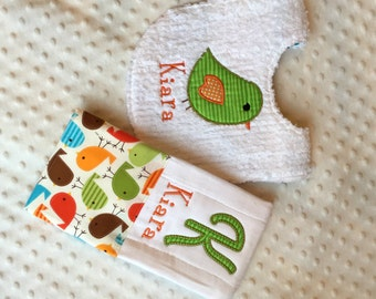 Baby Girl Personalized 2 Piece Gift Set  - Bib and Burp Cloth- Anne Kelle Bermuda Birds
