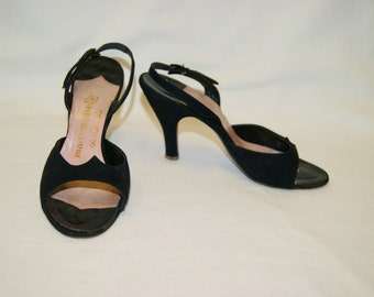 Vintage 1940's 50's Black Velour Sling Back Peep Toe Heels Shoes Mademoiselle 6 W