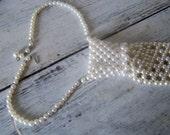Intricate Vintage Ladies White Pearl Beaded Neck Tie Funky Flamboyant Feminine Clothing Accessory Casual Elegants  Mod Style