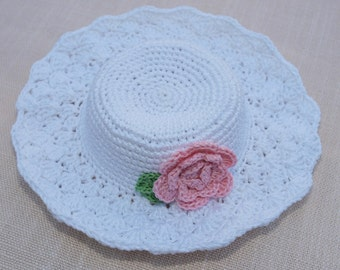 """Crocheted Waldorf Doll Hat White Doll Hat Summer Hat , fits 15""""- 20"""""""