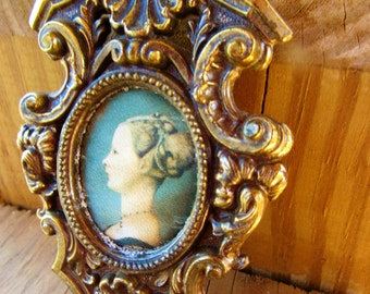 Antique Heavy Ornate Brass Frame Victorian Princess Satin Photo