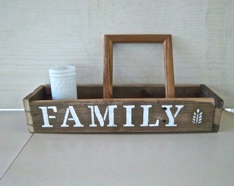 Vintage Reclaimed Redesign Family Friends Display Box Vintage Storage Centerpiece Stenciled Utility Storage Vintage Kitchen Display Box