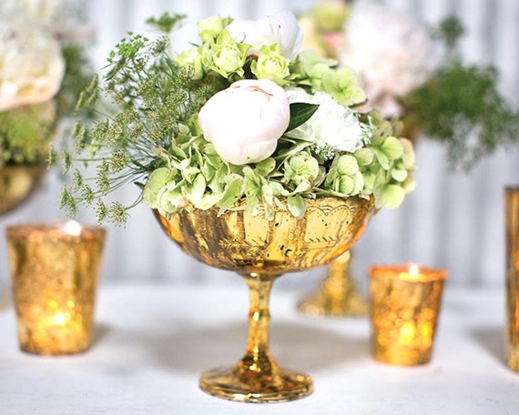 Gold vase flower glass compote tall