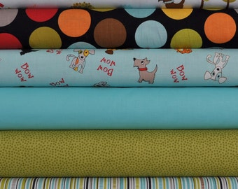 Puppy Park Blue/Green 6 Fat Quarters Bundle by Bella Blvd. for Riley Blake, 1 1/2 yards total