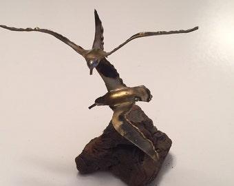 Mid Century Metal Seagulls Burlwood Sculpture By Gatormom13