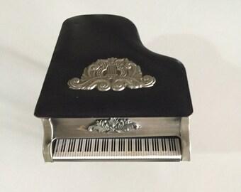 Music Box Piano Music Box/ Mid Century Piano Music Box/ Made in Japan/Genuine Leather/ By Gatormom13