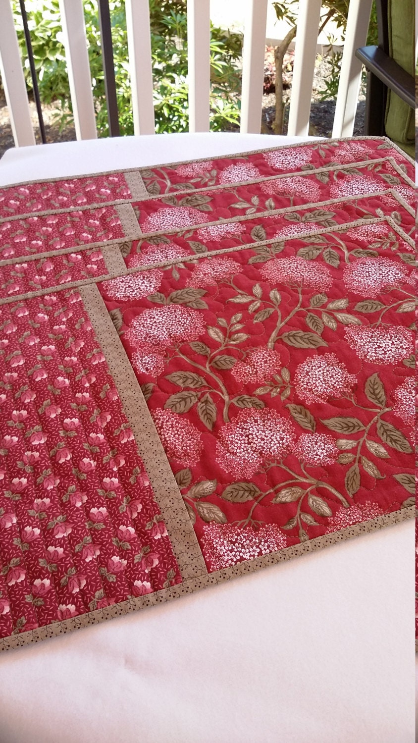 Handmade Quilted Floral Placemats Set Of 4 Red And Green