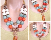 READY FOR SPRING Sale: Statement Necklace Ashira Tibetan Old Agate, Orange and Sky Blue Tagua Ivory Nuts, White Coral, African Hand Crafted