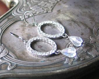 Sparkling Rhinestone and Clear AB Crystal Teardrop Earrings / Georgian / Bridal Jewelry / Vintage Style