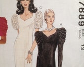 Cocktail Dress Pattern Sweetheart Neck Side Slit Puffy Sleeves Princess Seams Size 12 McCalls 7689 UNCUT