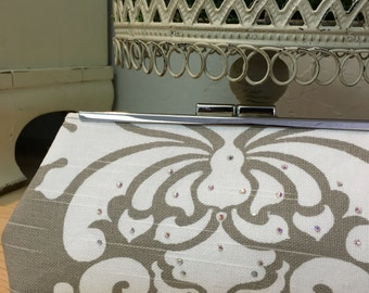 Ready To Ship Gray and White Damask with Swarovski Crystals