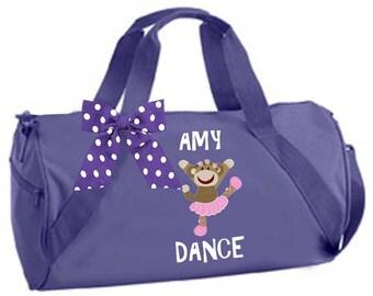 Personalized Black, Purple or Pink Duffel Sock Monkey Dancer