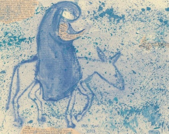The flight to Egypt - Mary and child Christmas card on hand-made paper - Xmas cards for modern art lovers