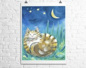 Cat Painting- Fine Art Print- butterscotch tiger kitty- stars moon- cat in the grass 12x18
