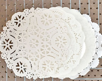 IVORY | 50 Hand Dyed Paper Lace Doilies. You Choose The Doily Size + Style