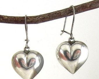 Sterling Silver Puffy Heart Pendant Drop Pierced Earrings  - Vintage