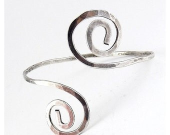 SALE Sterling Silver Hammered Arm Cuff Bracelet - Spiral Coil Ends, Egyptian Style