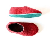 Unisex Wool Slippers Felt House Shoes Red and Gray Mix and Match Color Blocking Offbeat Gifts Contrast Rubber Sole Felt Slippers House Shoes