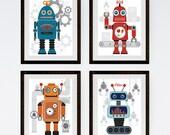 Robot Wall Art / Robot Art Print / Robot Nursery Art / Kids Art / Children's Art / Nursery Art Boy / Robot Art / Set of 4