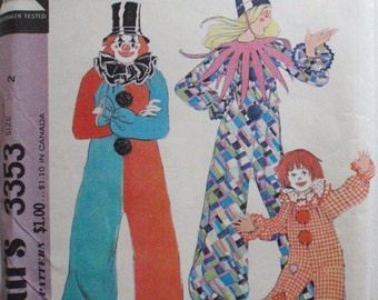 Toddler's Clown Costume Sewing Pattern - McCall's 3353 - Size 2-4, Breast 21-23, Uncut