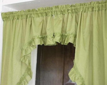 SWAG VALANCE - AVOCADO - ruffles - 2 pieces