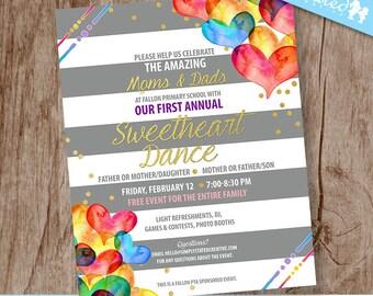 School Dance Flyer, Valentine's Day Communication Design for Non-Profit, School Events, Fundraiser - DiY Printable    The Sweetheart Dance