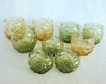 Set of 9 in 3 Sizes Lido Milano Avocado Green and Amber Gold ROLY POLY Round Crinkle Glasses by Anchor Hocking Juice, On the Rocks, Water