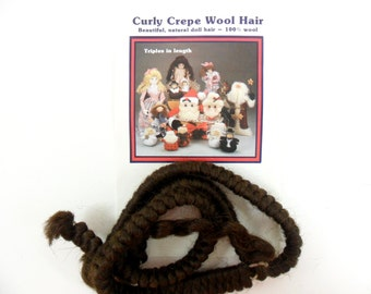 "2 - Curly Crepe Wool Doll Hair Dark Brown by All Cooped Up 100% Wool, Two 12"" Lengths"