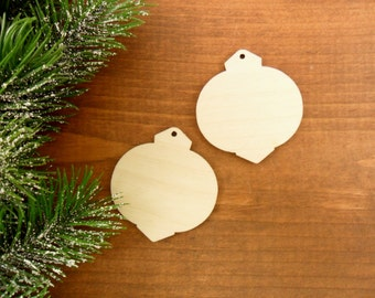 """Ball Ornaments Laser Cut Unfinished Wood Earring Shapes Select a Size 2"""" (20 Pieces) or 1 1/2"""" (25 Pieces)"""