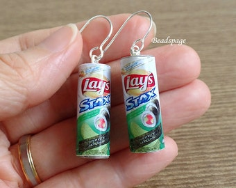 Miniature Food Jewelry Earrings Canned Potato Chips Wearable food Charms Cute Kawaii Gift (see Item Details for description)